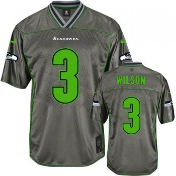 Nike Seattle Seahawks No.3 Russell Wilson Grey Male Embroidered Elite Vapor Jersey