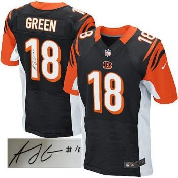 Nike Cincinnati Bengals No.18 A.J. Green Black Elite Autographed Jersey