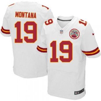 Nike Kansas City Chiefs No.19 Joe Montana White Football Elite Embroidered Jersey