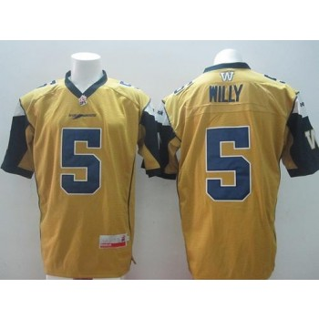 Blue Bombers 5 Drew Willy Gold Stitched CFL Jersey