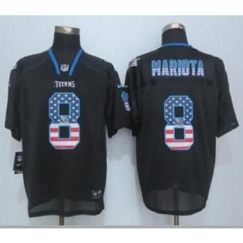 2015 Draft Nike Titans 8 Marcus Mariota Black Men Stitched NFL Elite USA Flag Fashion Jersey