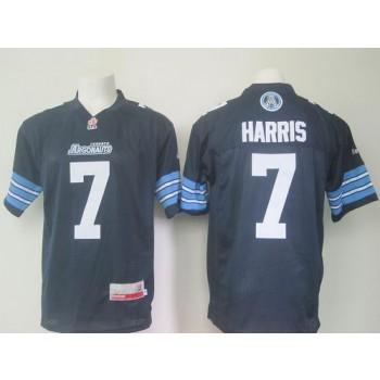Argonauts 7 Trevor Harris Navy Blue Stitched CFL Jersey