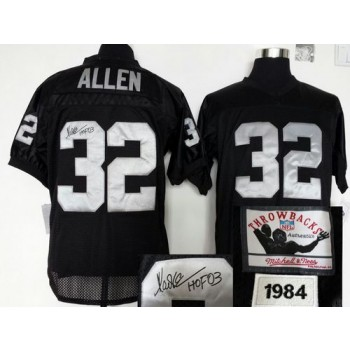 Mitchell And Ness Autographed Oakland Raiders No.32 Marcus Allen Black Embroidered Throwback Jersey
