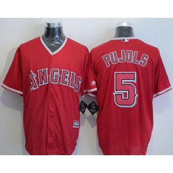 MLB Angels 5 Albert Pujols Red New Cool Base Men Jersey