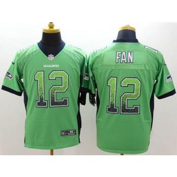 Nike Seattle Seahawks No.12 Fan Green Elite Drift Fashion Jersey