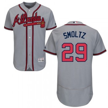 MLB Braves 29 John Smoltz Gray Flexbase Men Jersey
