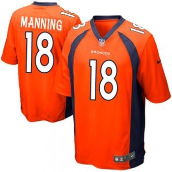 Nike Denver Broncos No.18 Peyton Manning Orange Game NFL Jersey