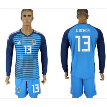 196010bad Mexico 13 G.Ochoa Blue Long Sleeve Goalkeeper 2018 FIFA World Cup Soccer  Men Jersey