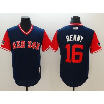 MLB Red Sox 16 Andrew Benintendi Benny Navy 2018 Players' Weekend Authentic Men Jersey