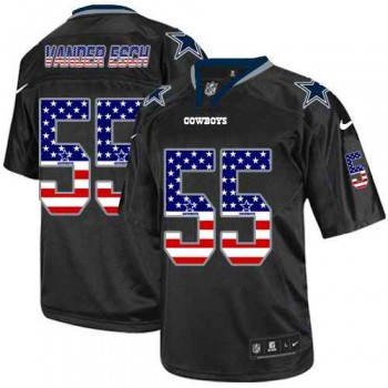 Nike Cowboys 55 Leighton Vander Esch Black USA Flag Fashion Limited Men Jersey