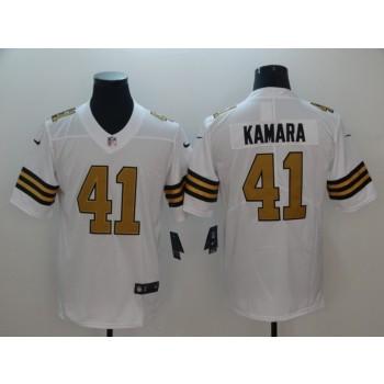 Nike Saints 41 Alvin Kamara White Color Rush Limited Men Jersey