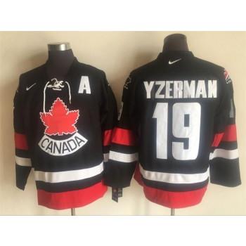 NHL Team Canada 19 Yzerman Nike Black Throwback Men Jersey