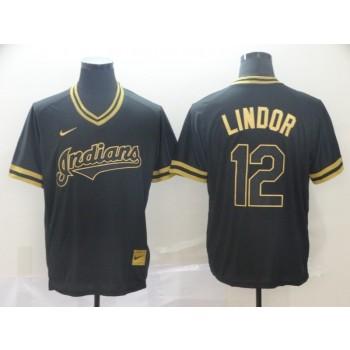 MLB Indians 12 Francisco Lindor Black Gold Nike Cooperstown Legend V Neck Men Jersey
