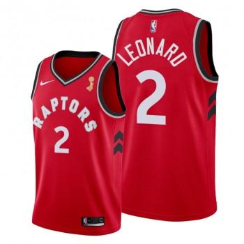 NBA Raptors 2 Kawhi Leonard Red 2019 NBA Finals Champions Men Jersey
