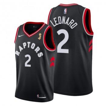 NBA Raptors 2 Kawhi Leonard Black Men's 2019 NBA Finals Champions Men Jersey