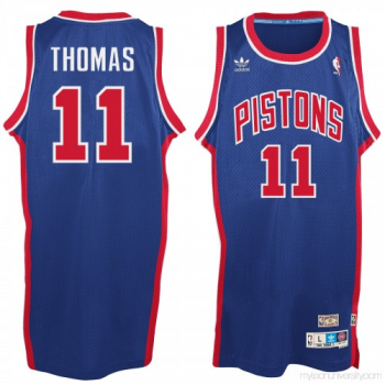 NBA Pistons 11 Isaiah Thomas Blue Hardwood Classic Throwback Jersey