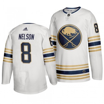 Sabres 8 Casey Nelson White 50th anniversary Adidas Men Jersey