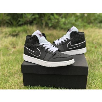 Air Jordan 1 Mid Black White Shoes