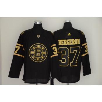 Bruins 37 Patrice Bergeron Black Gold Adidas Men Jersey