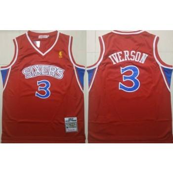 76ers 3 Allen Iverson Red 1996-97 Hardwood Classics Men Jersey