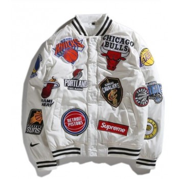 Nike Supreme NBA Teams Warm Up White Jacket