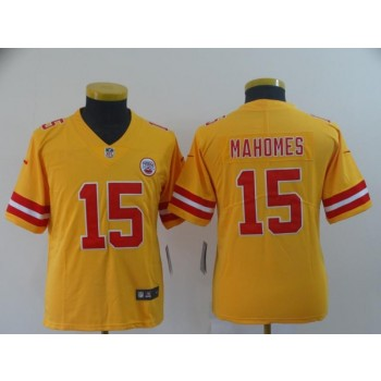 Nike Chiefs 15 Patrick Mahomes Gold Inverted Legend Youth Jersey