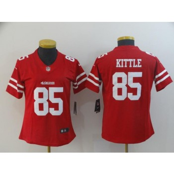 Nike 49ers 85 George Kittle Red Vapor Untouchable Limited Women Jersey
