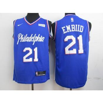 2019 NBA Philadelphia 76ers 21 Joel Embiid Blue Jersey