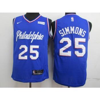 2019 NBA 76ers 25 Ben Simmons Blue Nike Jersey