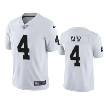 Nike Oakland Raiders 4 Derek Carr White 2019 100th Season Vapor Untouchable Limited Men Jersey
