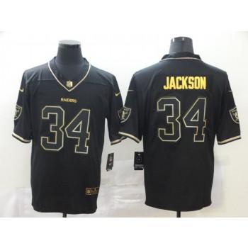Nike Raiders 34 Bo Jackson Black Gold Vapor Limited Men Jersey
