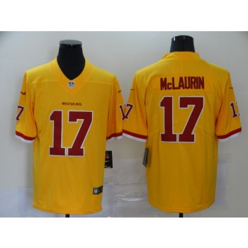 Nike Redskins 17 Terry McLaurin Gold Color Rush Limited Men Jersey