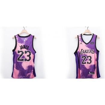 NBA Lakers 23 James Purple Fashion Men Jersey