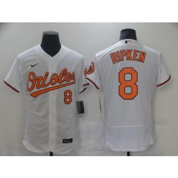 MLB Orioles 8 Cal Ripken Jr White Nike Flexbase Men Jersey