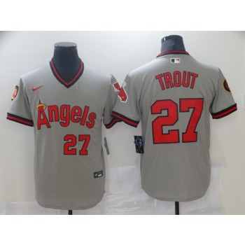 MLB Angels 27 Mike Trout Grey Nike Cool Base Men Jersey