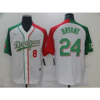 MLB Dodgers 24 Kobe Bryant White Mexico Nike Cool Base Men Jersey