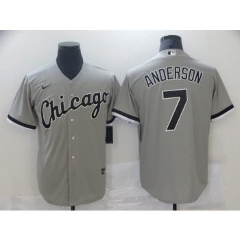MLB White Sox 7 Tim Anderson Grey Cool Base Men Jersey