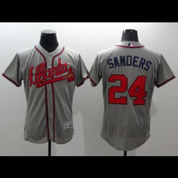 MLB Braves 24 Deion Sanders Grey FlexBase Men Jersey