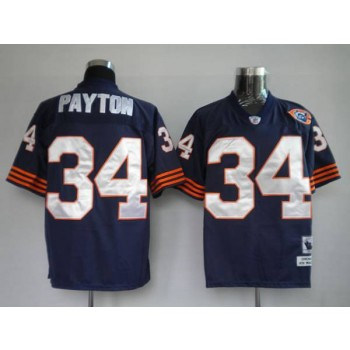 NFL Mitchell&Ness Chicago Bears 34 Walter Payton Blue With Big Number Bear Patch Throwback Jersey