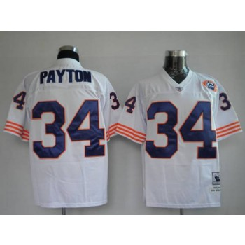 NFL Mitchell&Ness Chicago Bears 34 Walter Payton White With Big Number Bear Patch Throwback Jersey