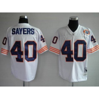 Mitchell and Ness Bears 40 Gale Sayers White With Big Number Bear Patch Throwback NFL Jersey