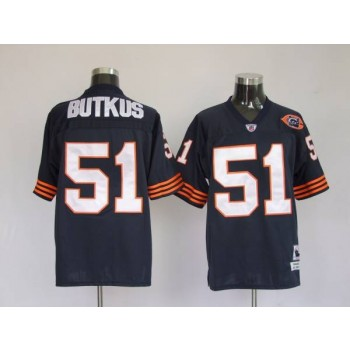 NFL Mitchell&Ness Chicago Bears 51 Dick Butkus Blue With Big Number Bear Patch Throwback Jersey