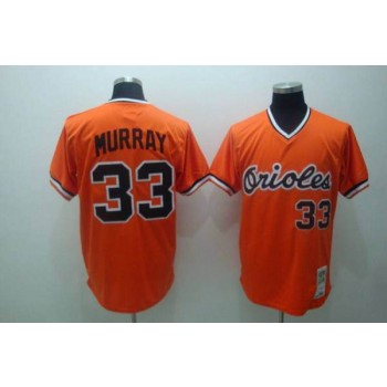 MLB Orioles 33 Eddie Murray Orange Mitchell and Ness Throwback Men Jersey