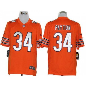 Nike NFL Chicago Bears 34 Walter Payton Orange NFL Game Football Jersey