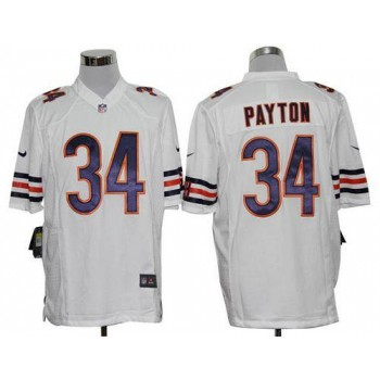 Nike NFL Chicago Bears 34 Walter Payton White NFL Game Football Jersey