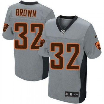 Nike Cleveland Browns No.32 Jim Brown Grey Shadow Men's Elite Jersey