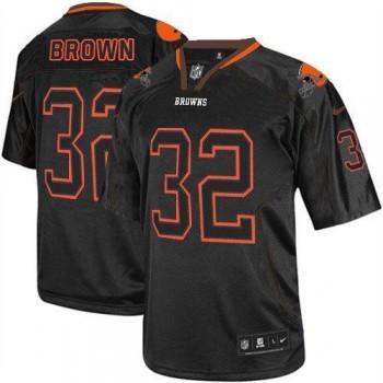 Nike Cleveland Browns No.32 Jim Brown Lights Out Black Men's Elite Jersey
