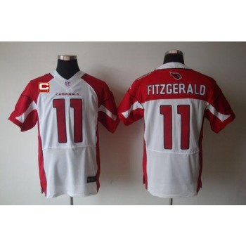 Nike Arizona Cardinals No.11 Larry Fitzgerald White With C Patch Elite Football Jersey