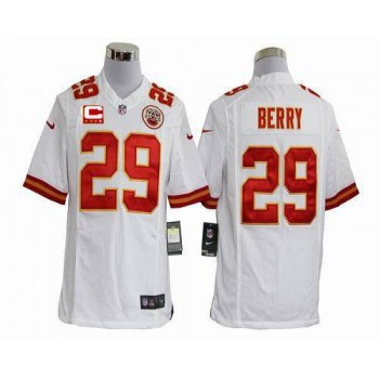 Nike Kansas City Chiefs No.29 Eric Berry White With C Patch Game Stitched Football Jersey