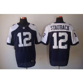 Nike Dallas Cowboys No.12 Roger Staubach Navy Blue Thanksgiving Throwback Male Stitched Elite Jersey